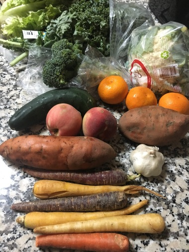 Weekly produce delivery. I put a cooler on the patio and come home to fresh, organic produce!